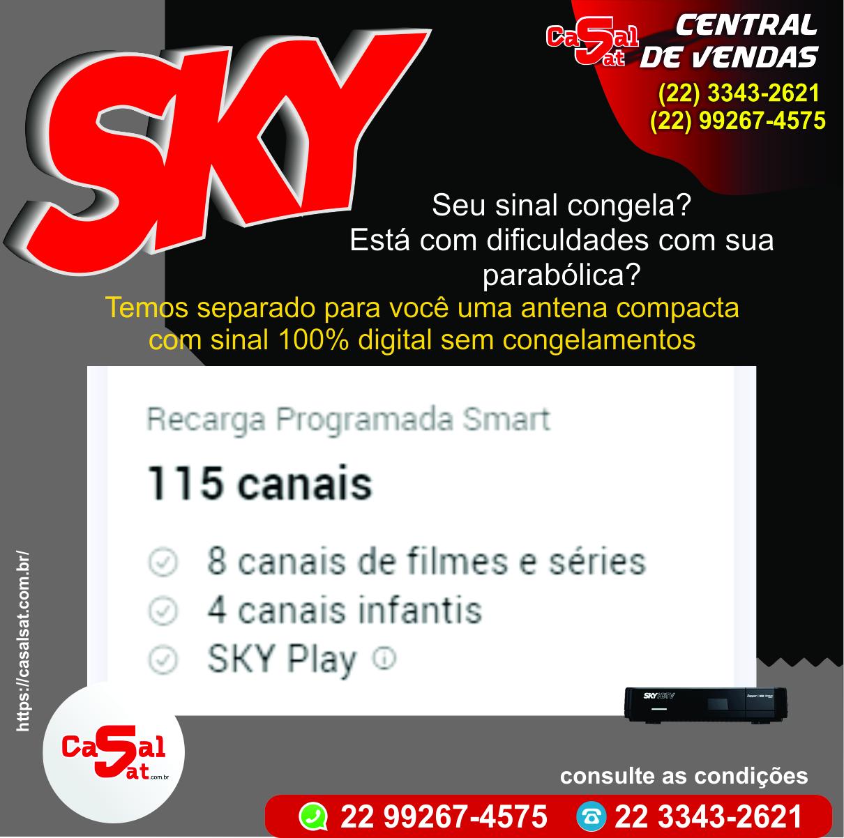 <h2>Smart + Premiere</h2>  <p><strong>115</strong>canais</p>  <p><strong>SKY Play</strong></p>  <p><strong>R$ 109,90</strong>/mês</p>  <p><del>R$ 113,90/mês</del></p>